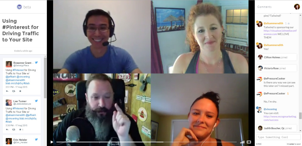 Blab about Pinterest with @jeffsieh @stgammon @mcngmarketing