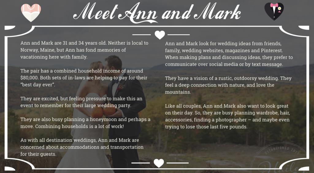 Wedding business buyer persona example
