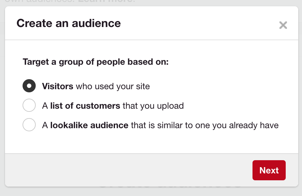 Pinterest promoted pins audience creation options