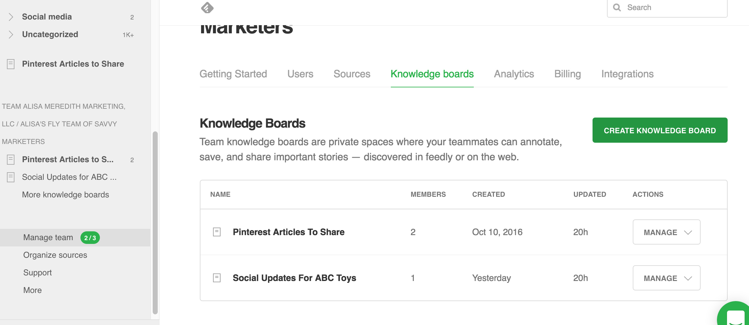 Create a Feedly Knowledge Board