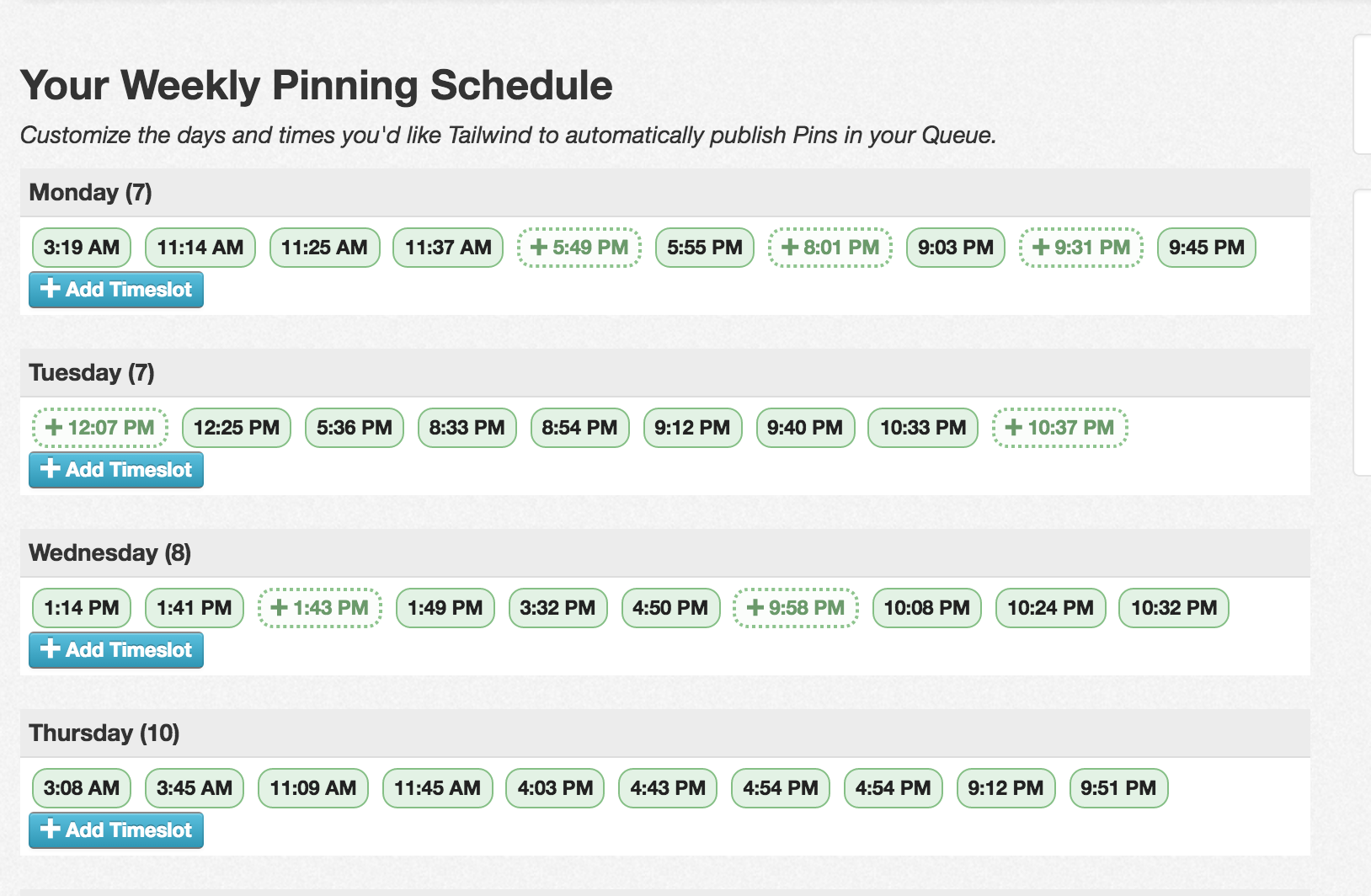 tailwind pinterest schedule screenshot