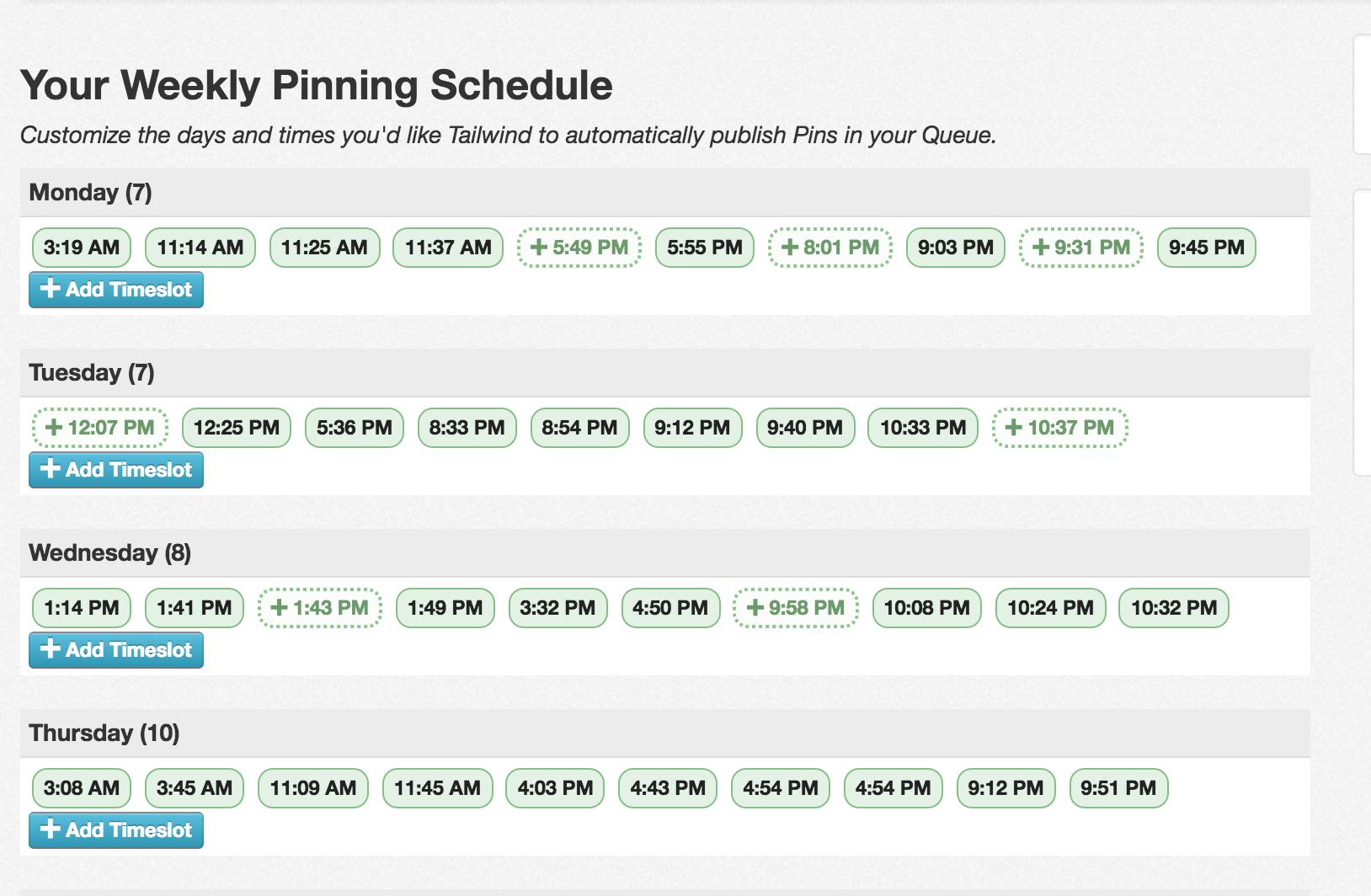 tailwind pinterest schedule screenshot