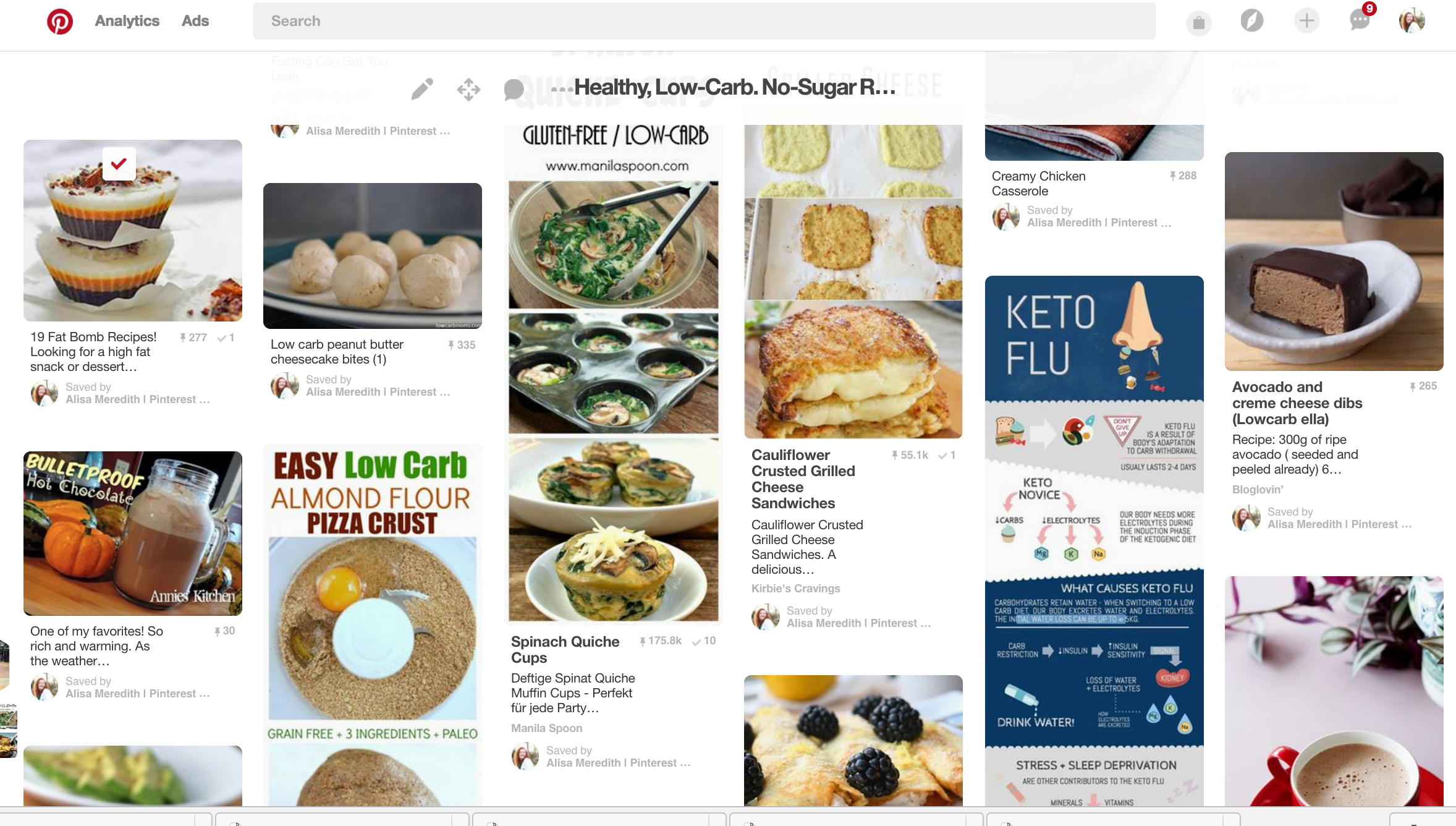 Pinterest feed with tried it check marks