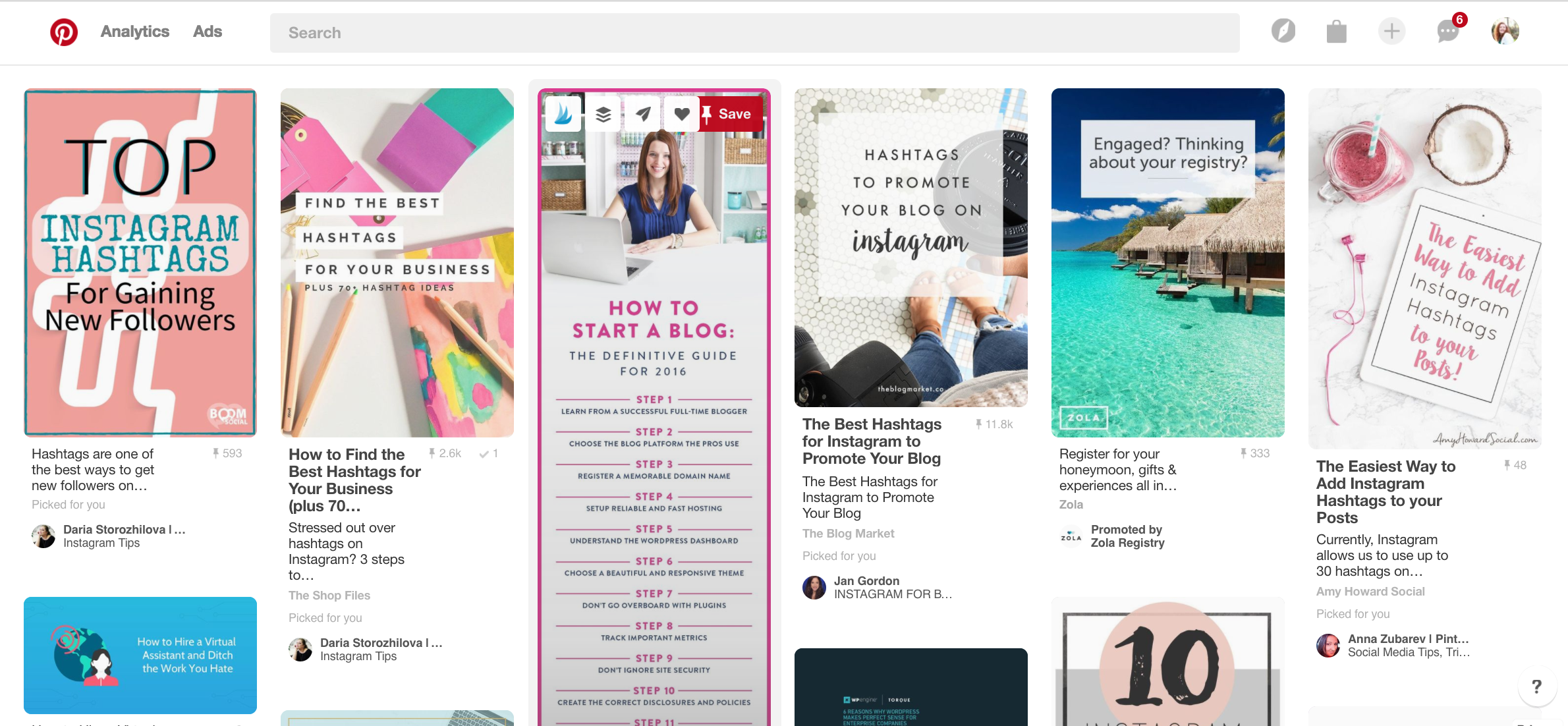 Pinterest Home Feed - almost none are people I'm following