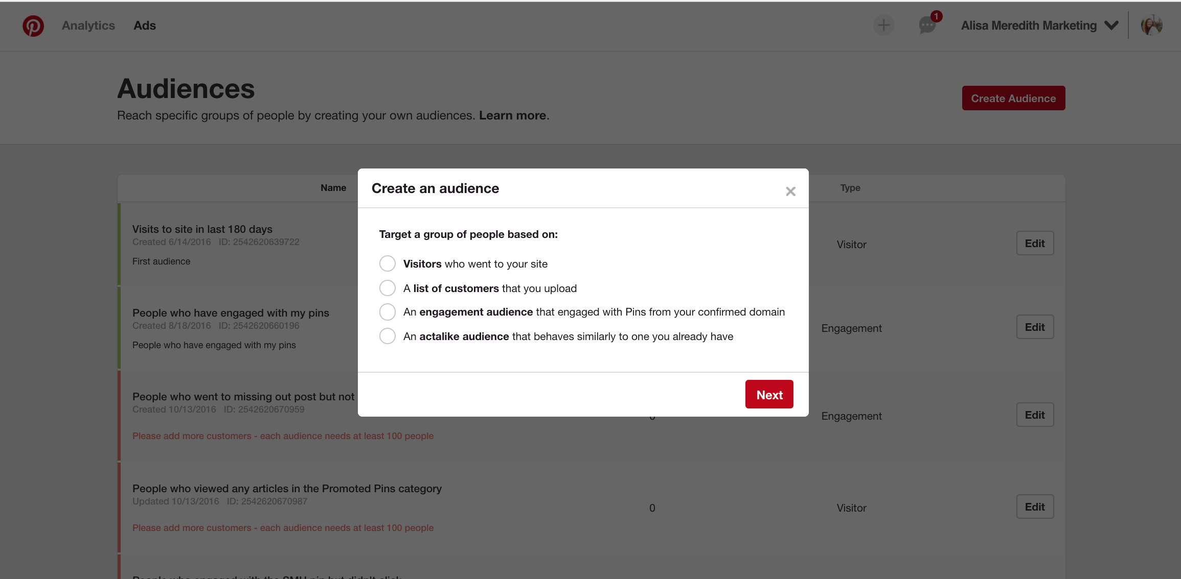 Create an audience for Pinterest Promoted Pins