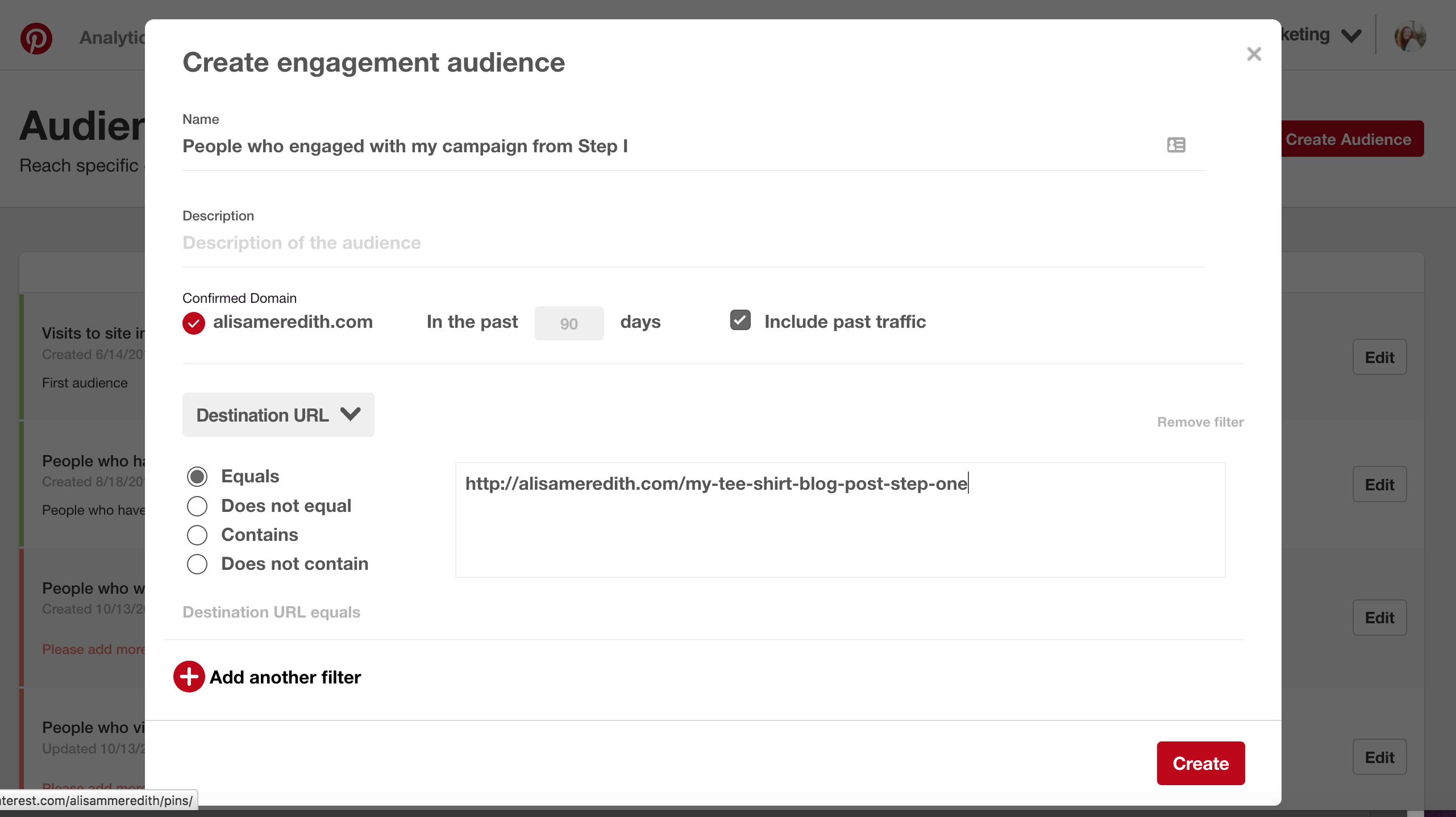 Create an engagement audience