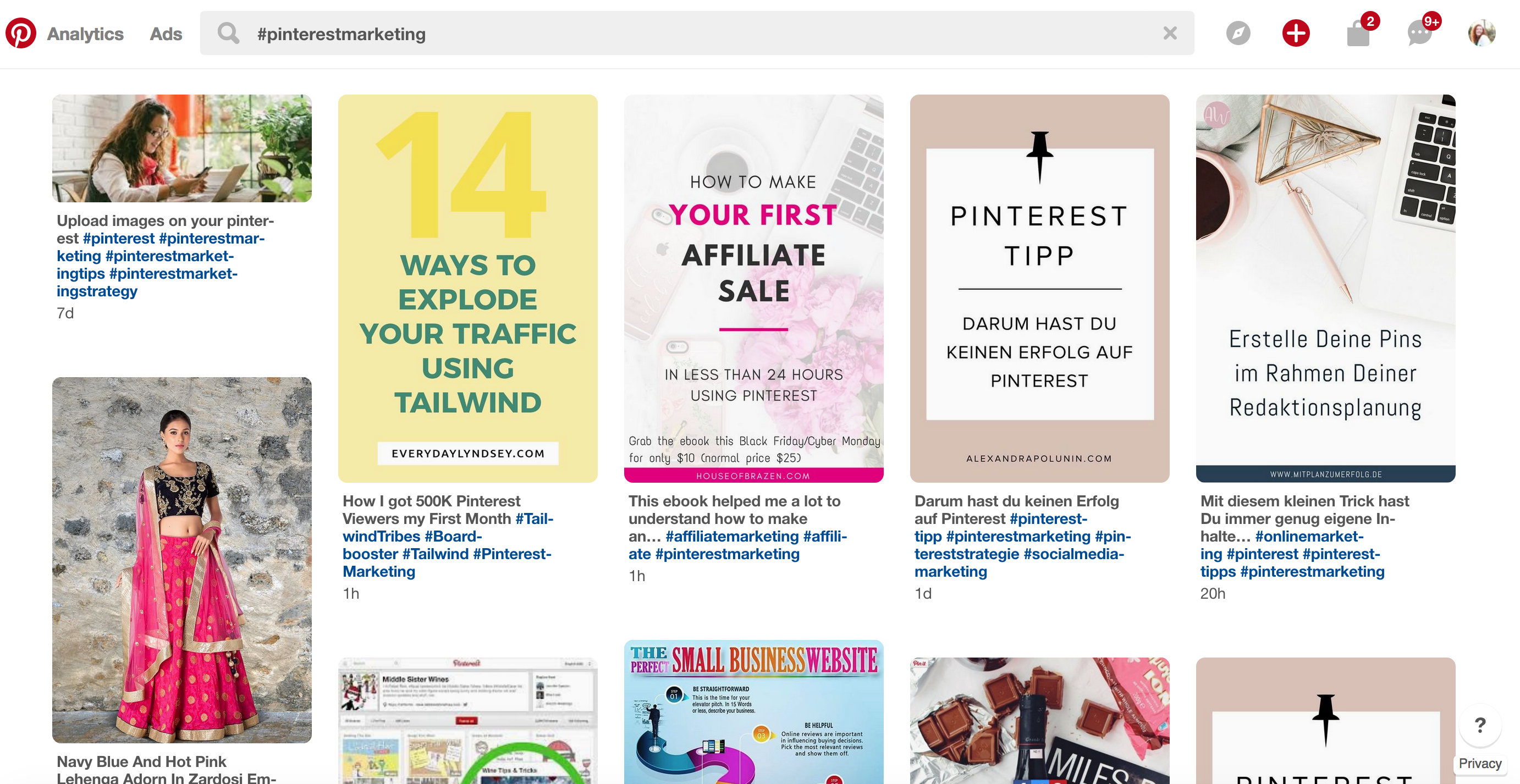 Hashtag search on Pinterest