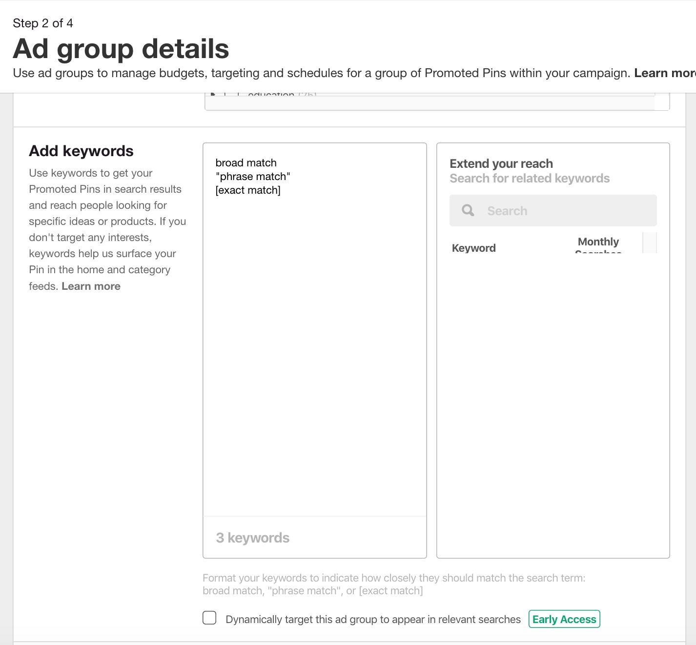 set up keyword match types