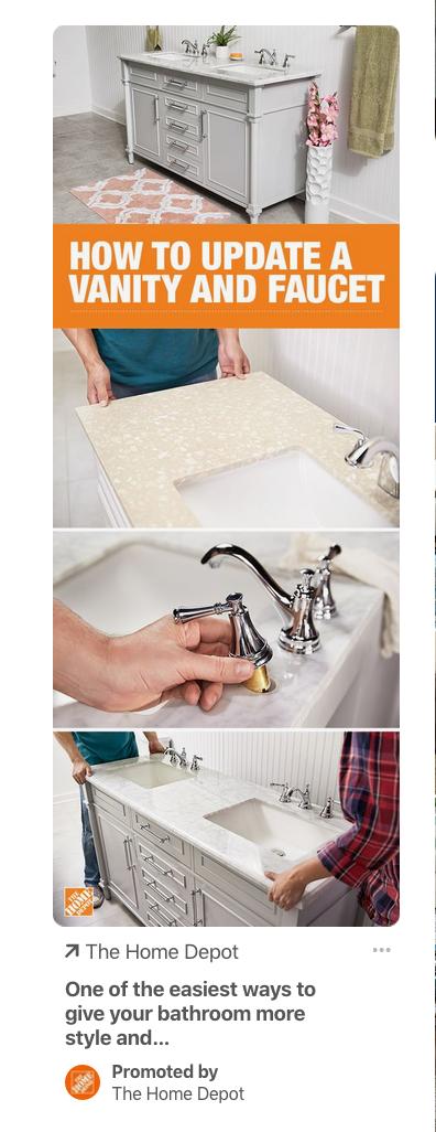 Screenshot of a Home Depot ad on Pinterest