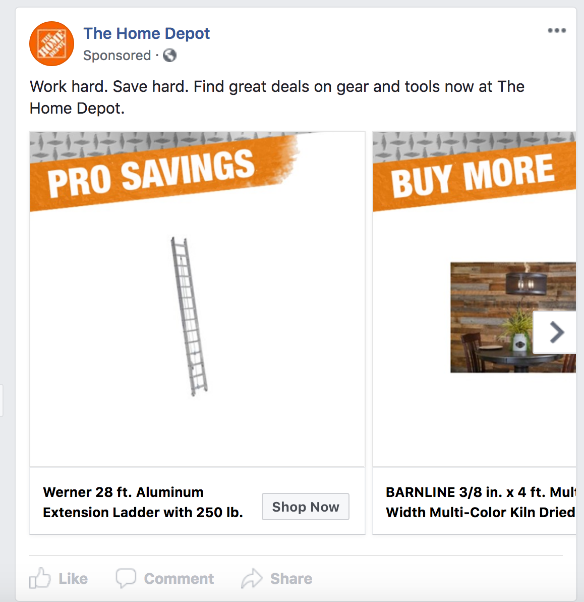 A Facebook Ad by Home Depot